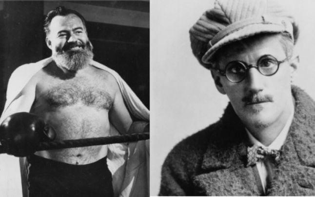 Ernest Hemingway şi James Joyce (FOTO: openculture.com)