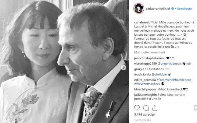Michel Houellebecq alături de soţia lui, într-o fotografie postată de Carla Bruni pe contul său de Instagram
